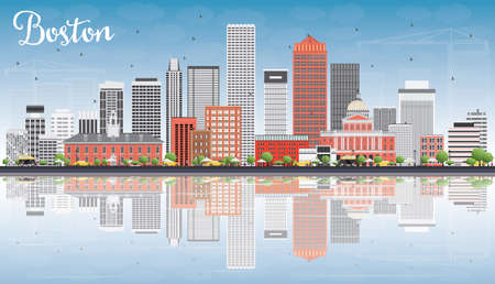 boston skyline: Boston Skyline with Gray, Red Buildings, Blue Sky and Reflections. Vector Illustration. Business Travel and Tourism Concept with Modern Buildings. Image for Presentation Banner Placard and Web Site.