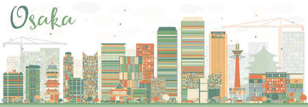 tv tower: Abstract Osaka Skyline with Color Buildings. Vector Illustration. Business and Tourism Concept with Modern Buildings. Image for Presentation, Banner, Placard or Web Site. Illustration