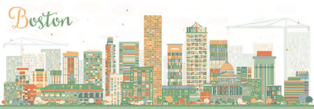 boston skyline: Abstract Boston Skyline with Color Buildings. Vector Illustration. Business Travel and Tourism Concept with Modern Buildings. Image for Presentation Banner Placard and Web Site. Illustration