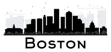 boston skyline: Boston City skyline black and white silhouette. Vector illustration. Simple flat concept for tourism presentation, banner, placard or web site. Business travel concept. Cityscape with landmarks Illustration