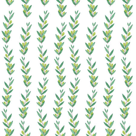 branches with leaves: Seamless watercolor pattern with olive branches. Illustration on white background. Nature and Organic concept. Natural product.