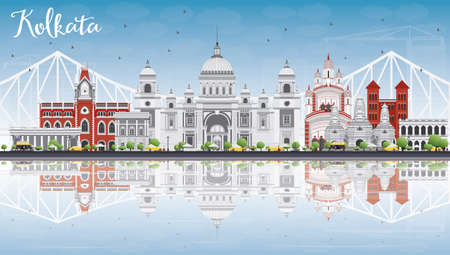 Kolkata Skyline with Gray Landmarks, Blue Sky and Reflections. Vector Illustration. Business Travel and Tourism Concept with Historic Buildings. Image for Presentation Banner Placard and Web Site. Vectores