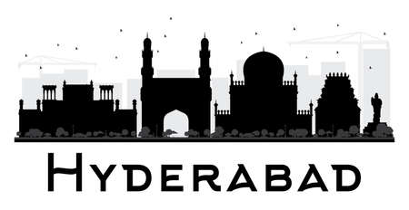 Hyderabad City skyline black and white silhouette. Vector illustration. Simple flat concept for tourism presentation, banner, placard or web site. Business travel concept. Cityscape with landmarks