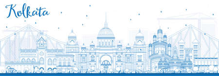 Outline Kolkata Skyline with Blue Landmarks. Vector Illustration. Business Travel and Tourism Concept with Historic Buildings. Image for Presentation Banner Placard and Web Site.
