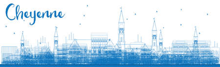 cheyenne: Outline Cheyenne (Wyoming) Skyline with Blue Buildings. Vector Illustration. Business travel and tourism concept with modern buildings. Image for presentation, banner, placard and web site.
