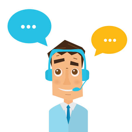 client service: Man with headsets and colorful speech bubbles in call center. Business concept of client service and communication. Online support. 24 hour customer support center.
