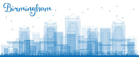 birmingham: Outline Birmingham (Alabama) Skyline with Blue Buildings. Vector Illustration. Business and tourism concept with skyscrapers. Image for presentation, banner, placard or web site Illustration