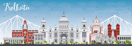 calcutta: Kolkata Skyline with Gray Landmarks and Blue Sky. Vector Illustration. Business Travel and Tourism Concept with Historic Buildings. Image for Presentation Banner Placard and Web Site.