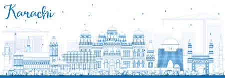 karachi: Outline Karachi Skyline with Blue Landmarks. Vector Illustration. Business Travel and Tourism Concept with Historic Buildings. Image for Presentation Banner Placard and Web Site.