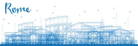 Outline Roma skyline con punti di riferimento blu. Illustrazione vettoriale. I viaggi d'affari e turismo concetto di edifici storici. Immagine per la presentazione, banner, cartello e il sito web.