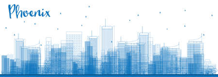 phoenix arizona: Outline Phoenix Skyline with Blue Buildings. Vector Illustration. Business travel and tourism concept with modern buildings. Image for presentation, banner, placard and web site. Illustration