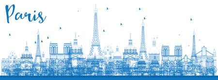 paris skyline: Outline Paris skyline with blue landmarks. Vector illustration. Business and tourism concept with historic buildings. Image for presentation, banner, placard and web site
