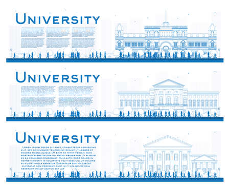 university students: Outline set of university study banners. Vector illustration. Students go to the blue building of university. Banner with copy space.