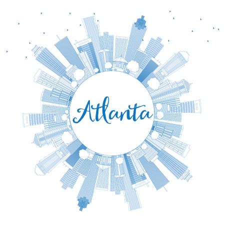 Outline Atlanta Skyline with Blue Buildings and Copy Space. Vector Illustration. Business Travel and Tourism Concept with Modern Buildings. Image for Presentation Banner Placard and Web Site. Illustration