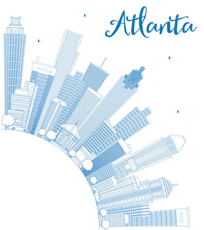 atlanta tourism: Outline Atlanta Skyline with Blue Buildings and Copy Space. Vector Illustration. Business Travel and Tourism Concept with Modern Buildings. Image for Presentation Banner Placard and Web Site. Illustration