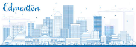 edmonton: Outline Edmonton Skyline with Blue Buildings. Vector Illustration. Business Travel and Tourism Concept with Modern Buildings. Image for Presentation Banner Placard and Web Site.