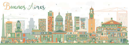 buenos: Abstract Buenos Aires Skyline with Color Landmarks. Vector Illustration.