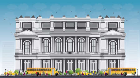 townhouses: Landscape with school bus, school building and people. Vector illustration. Education concept with part of city life.
