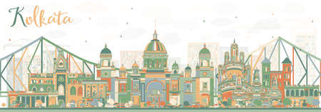 calcutta: Abstract Kolkata Skyline with Color Landmarks. Vector Illustration. Business Travel and Tourism Concept with Historic Buildings. Image for Presentation Banner Placard and Web Site. Illustration