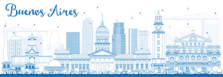Outline Buenos Aires Skyline with Blue Landmarks. Vector Illustration. Business Travel and Tourism Concept with Historic Buildings. Image for Presentation Banner Placard and Web Site. 向量圖像