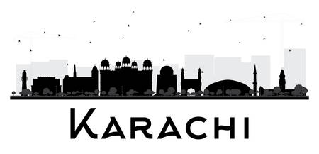 karachi: Karachi City skyline black and white silhouette. Vector illustration. Simple flat concept for tourism presentation, banner, placard or web site. Business travel concept. Cityscape with landmarks Illustration