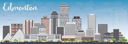 edmonton: Edmonton Skyline with Gray Buildings and Blue Sky. Vector Illustration. Business Travel and Tourism Concept with Modern Buildings. Image for Presentation Banner Placard and Web Site.