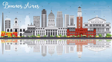 buenos aires: Buenos Aires Skyline with Color Landmarks, Blue Sky and Reflections. Vector Illustration. Business Travel and Tourism Concept with Historic Buildings. Image for Presentation Banner Placard and Web. Illustration