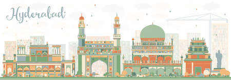 hyderabad: Abstract Hyderabad Skyline with Color Landmarks. Vector Illustration. Business Travel and Tourism Concept with Historic Buildings. Image for Presentation Banner Placard and Web Site.