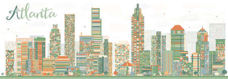 atlanta tourism: Abstract Atlanta Skyline with Color Buildings. Vector Illustration. Business Travel and Tourism Concept with Modern Buildings. Image for Presentation Banner Placard and Web Site.