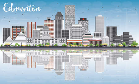 edmonton: Edmonton Skyline with Gray Buildings, Blue Sky and Reflections. Vector Illustration. Business Travel and Tourism Concept with Modern Buildings. Image for Presentation Banner Placard and Web Site.
