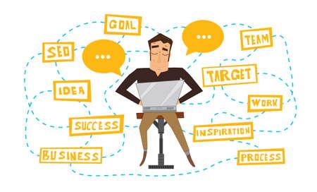 freelancer: Businessman working with laptop. Vector illustration. Business process scheme. Man isolated on white background. Freelancer at work. Illustration