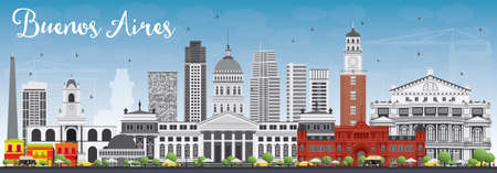 Buenos Aires Skyline with Color Landmarks and Blue Sky. Vector Illustration. Business Travel and Tourism Concept with Historic Buildings. Image for Presentation Banner Placard and Web Site. 向量圖像