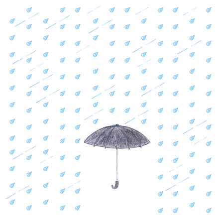 torrential rain: Watercolor rain and umbrella. Black umbrella isolated on white background with blue drops. Stock Photo