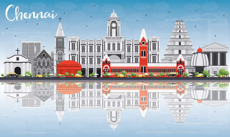 Chennai Skyline with Gray Landmarks, Blue Sky and Reflections. Vector Illustration. Business Travel and Tourism Concept with Historic Buildings. Image for Presentation Banner Placard and Web Site. Illustration