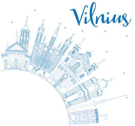 Outline Vilnius Skyline with Blue Landmarks and Copy Space. Vector Illustration. Business Travel and Tourism Concept with Historic Buildings. Image for Presentation Banner Placard and Web Site.