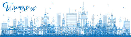 european culture: Outline Warsaw skyline with blue buildings. Vector illustration. Business travel and tourism concept with modern buildings. Image for presentation, banner, placard and web site. Illustration