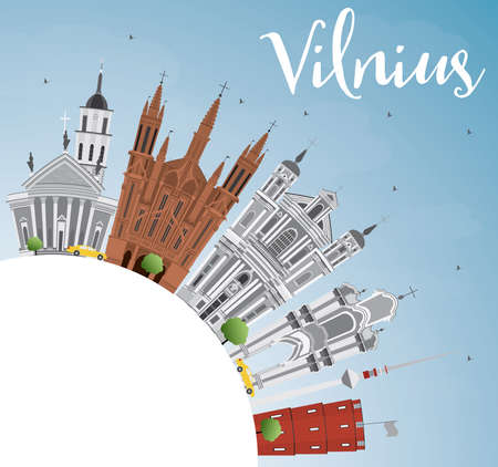 Vilnius Skyline with Gray Landmarks, Blue Sky and Copy Space. Vector Illustration. Business Travel and Tourism Concept with Historic Buildings. Image for Presentation Banner Placard and Web Site.