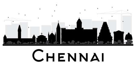 Chennai City skyline black and white silhouette. Vector illustration. Simple flat concept for tourism presentation, banner, placard or web site. Business travel concept. Isolated Chennai