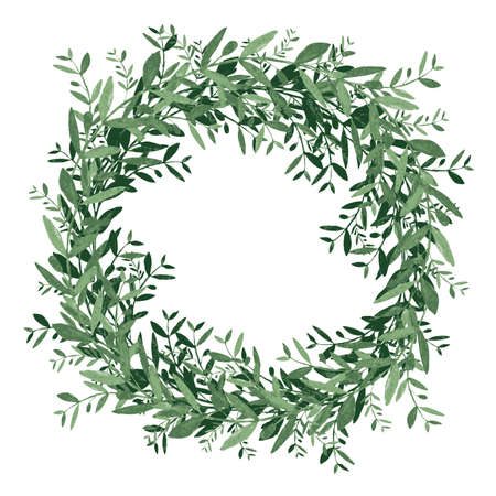 olive wreath: Watercolor olive wreath. Isolated vector illustration on white background. Organic and natural concept. Illustration