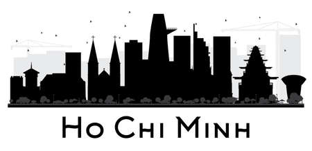 chi: Ho Chi Minh City skyline black and white silhouette. Vector illustration. Simple flat concept for tourism presentation, banner, placard or web site. Business travel concept. Isolated Ho Chi Minh