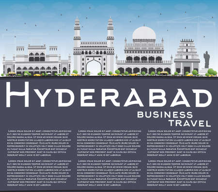 hyderabad: Hyderabad Skyline with Gray Landmarks, Blue Sky and Copy Space. Vector Illustration. Business Travel and Tourism Concept with Historic Buildings. Image for Presentation Banner Placard and Web Site. Illustration