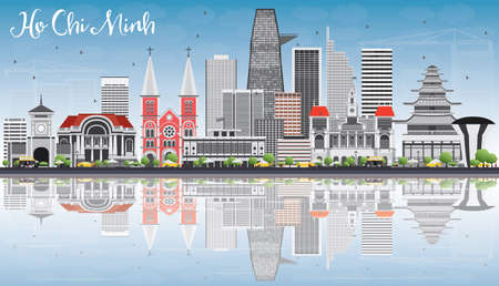 chi: Ho Chi Minh Skyline with Gray Buildings, Blue Sky and Reflections. Vector Illustration. Business Travel and Tourism Concept with Modern Buildings. Image for Presentation Banner Placard and Web Site. Illustration