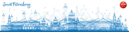Outline Saint Petersburg skyline with blue landmarks. Business travel and tourism concept with historic buildings. Image for presentation, banner, placard and web site. Vector illustration Illustration