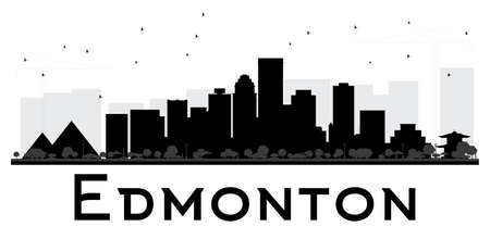 edmonton: Edmonton City skyline black and white silhouette. Vector illustration. Simple flat concept for tourism presentation, banner, placard or web site. Business travel concept. Isolated Edmonton