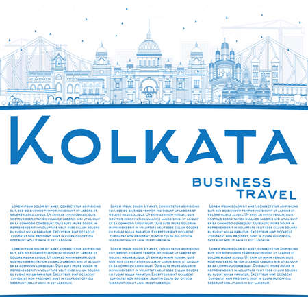 calcutta: Outline Kolkata Skyline with Blue Landmarks and Copy Space. Vector Illustration. Business Travel and Tourism Concept with Historic Buildings. Image for Presentation Banner Placard and Web Site.