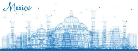 angel de la independencia: Esquema horizonte de M�xico con las se�ales azules. Ilustraci�n del vector. Los viajes de negocios y el concepto de turismo de edificios hist�ricos. Imagen de la presentaci�n, bandera, cartel y el sitio web.