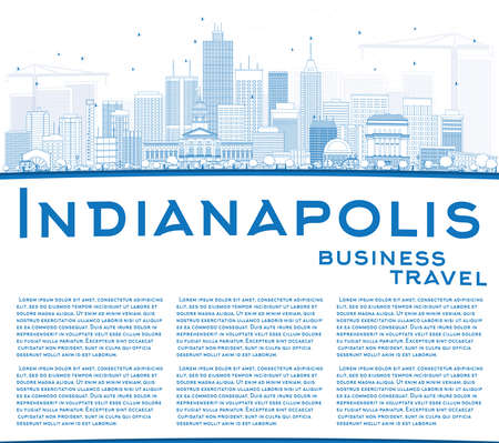 indianapolis: Outline Indianapolis Skyline with Blue Buildings and Copy Space. Vector Illustration. Business Travel and Tourism Concept with Modern Buildings. Image for Presentation Banner Placard and Web Site.