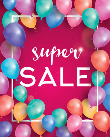 shopping sale: Super sale poster on red background with flying balloons and white frame. Vector illustration. Super sale banner.