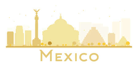 yucatan: Mexico City skyline golden silhouette. Vector illustration. Simple flat concept for tourism presentation, banner, placard or web site. Business travel concept. Mexico isolated on white background Illustration