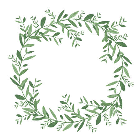 Watercolor olive wreath. Isolated vector illustration on white background. Organic and natural concept. Çizim